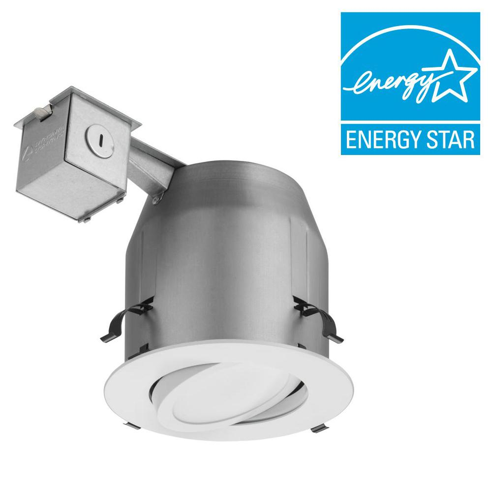 Lithonia Lighting 5 In Matte White Recessed Gimbal Integrated Led Kit