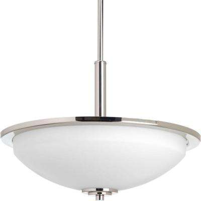 Replay 3-Light Polished Nickel Pendant with Etched White Glass