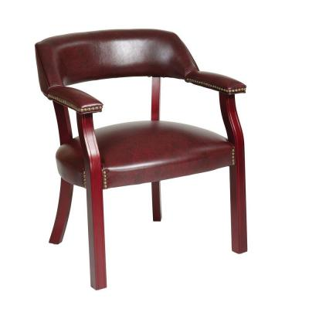 Jamestown Oxblood Brown Vinyl Guest Office Chair