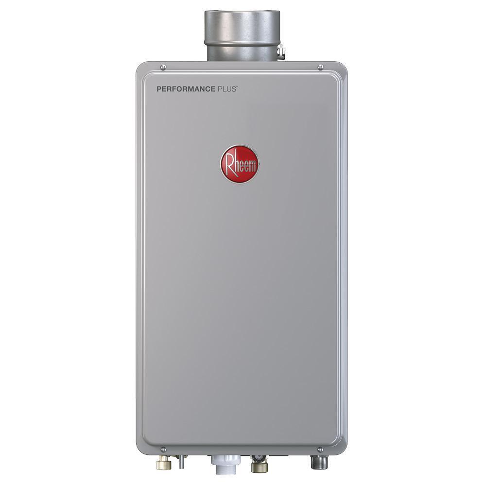 Rheem 9 5 gpm liquid propane gas mid efficiency indoor for 5 bathroom tankless water heater