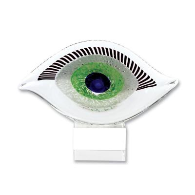 Visionary Good Luck Murano Style Art Glass Eye 7.5 in. H x 10 in. L Abstract Centerpiece