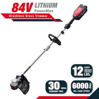 Red and Black 16 in. 84-Volt Lithium-ion Electric Cordless Brush-less Motor String Trimmer Set