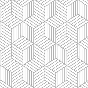 RoomMates 28.18 sq. ft. Stripped Hexagon White/Grey Peel and Stick Wallpaper by RoomMates