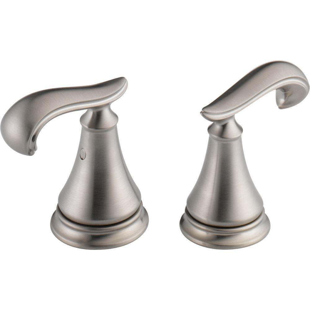 Pair of Cassidy French Curve Metal Lever Handles for Bathroom Faucet