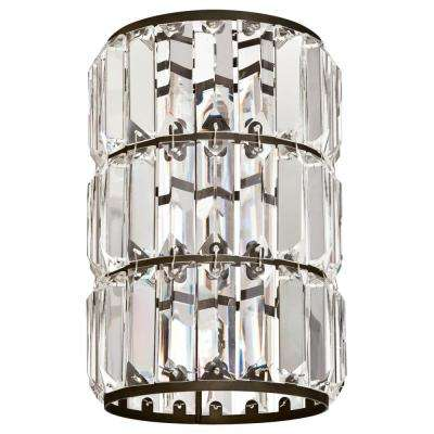 8-7/8 in. Crystal Prism and Oil Rubbed Bronze Cylinder Shade with 2-1/4 in. Fitter and 6 in. W