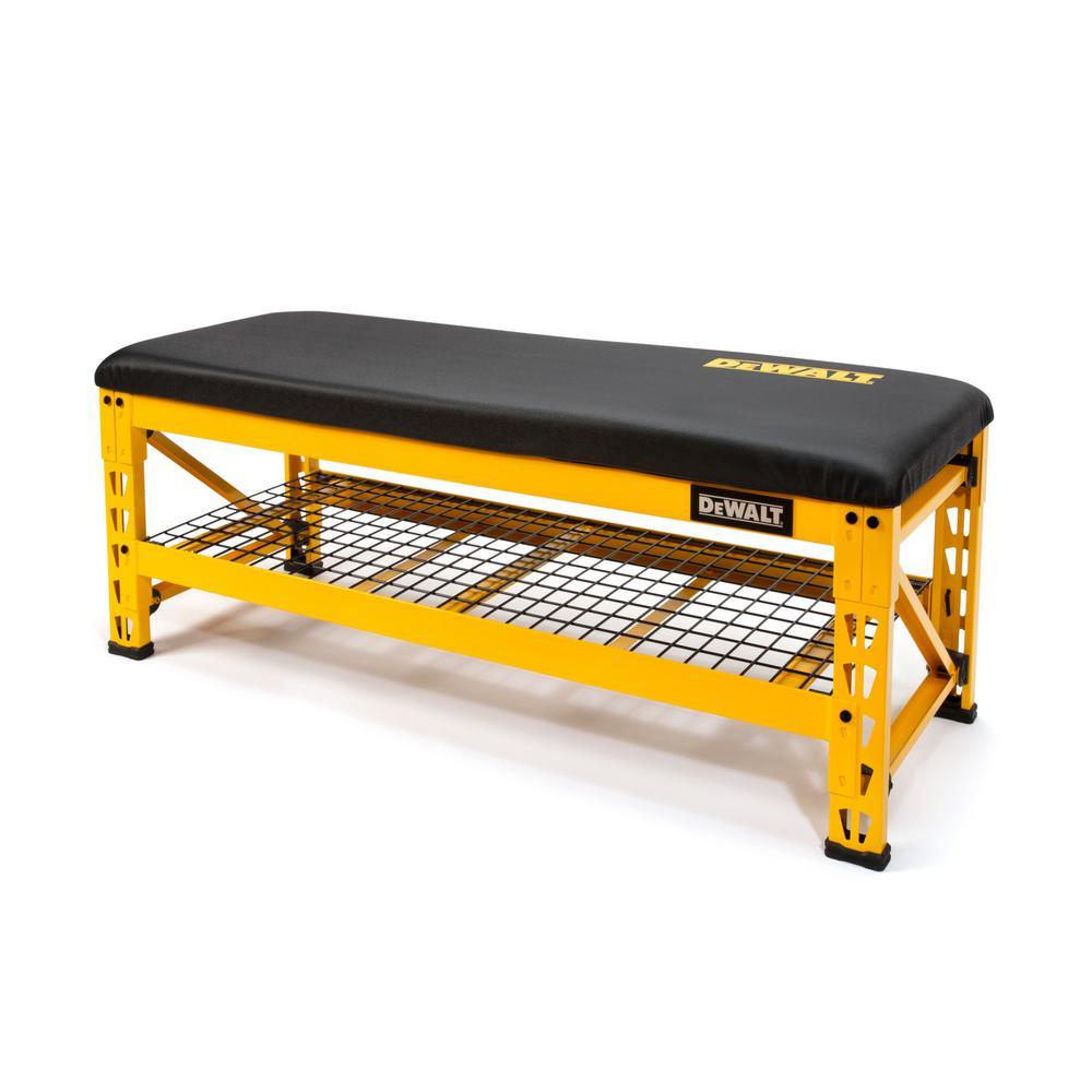 20 in. H x 50 in. W x 18 in. D Garage Bench with Wire Grid Storage Shelf