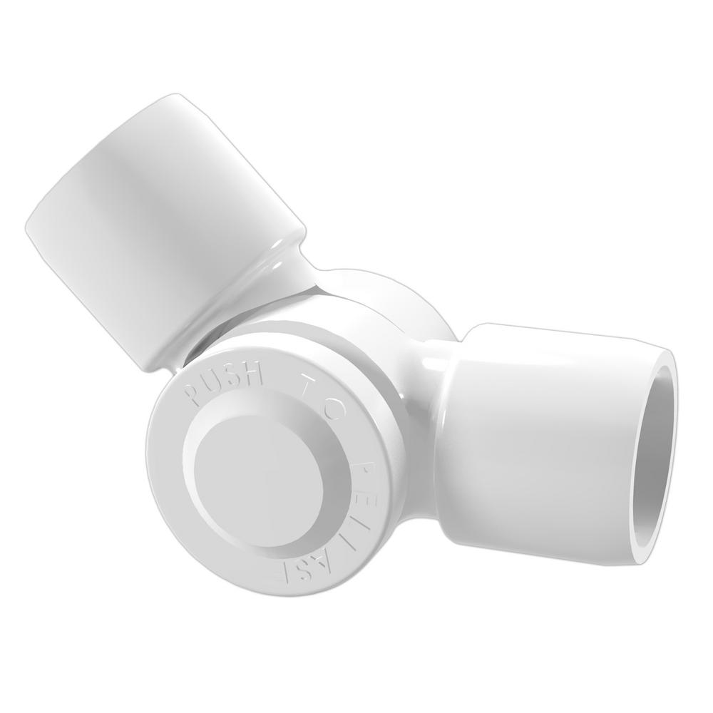 Formufit 3/4 in. Furniture Grade PVC External 2-Way Adjustable Fitting in White (2-Pack)