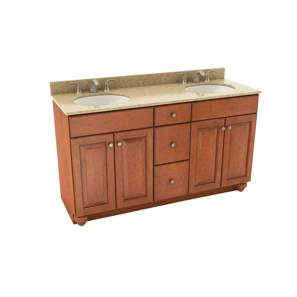 . American Woodmark Charlottesville 61 in  Vanity in Cognac with Silestone  Quartz Vanity Top in Bamboo and Oval White Double Sink