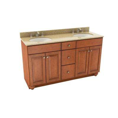 Charlottesville 61 in. Vanity in Cognac with Silestone Quartz Vanity Top in Bamboo and Oval White Double Sink