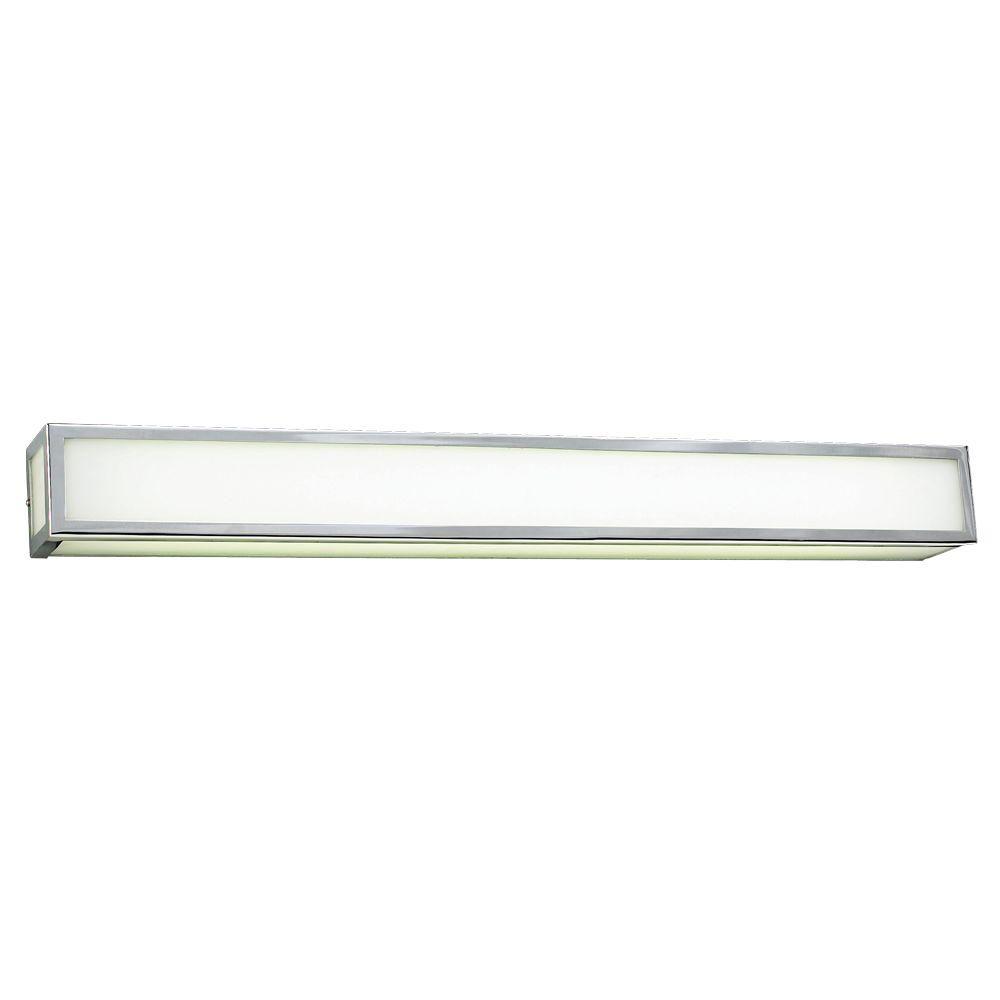 1-Light Polished Chrome Bath Vanity Light with Matte Opal Glass