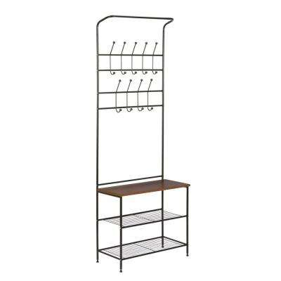 18-Hook Steel Freestanding Storage Valet in Black