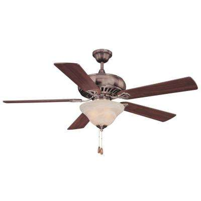 52 in. Brushed Pewter Ceiling Fan with White Marble Glass