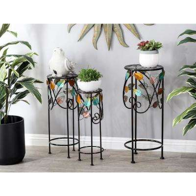 Multi-Colored Iron and Glass Stems and Leaves Round Plant Stands (Set of 3)