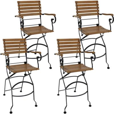 Brown Folding Wood Outdoor Dining Chair (Set of 4)