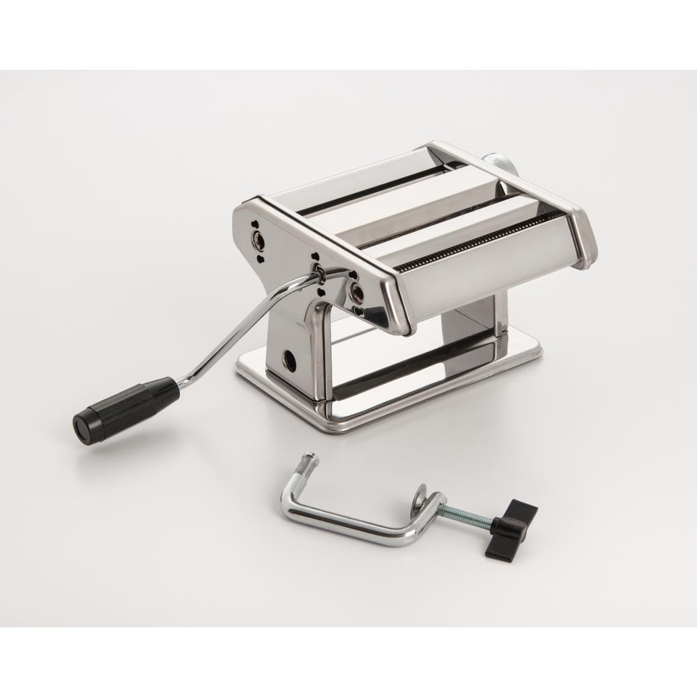 ExcelSteel Stainless Steel Pasta Machine This durable stainless steel pasta machine comes with a classical and excellent design. Perfect for making authentic and fresh pasta right at home. Machine can press pasta dough into 0.2 mm to 3 mm thickness.