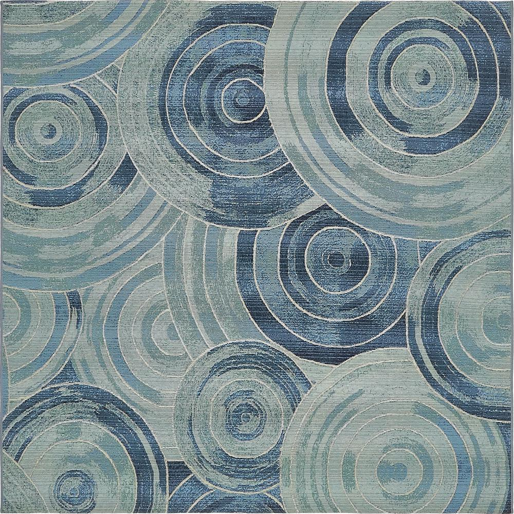 Outdoor Modern Light Blue 6' x 6' Square Rug