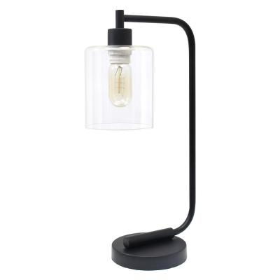 19 in. Bronson Antique Style Black Industrial Iron Lantern Desk Lamp with Glass Shade