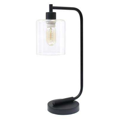 18.75 in. Bronson Antique Style Black Industrial Iron Lantern Desk Lamp with Glass Shade