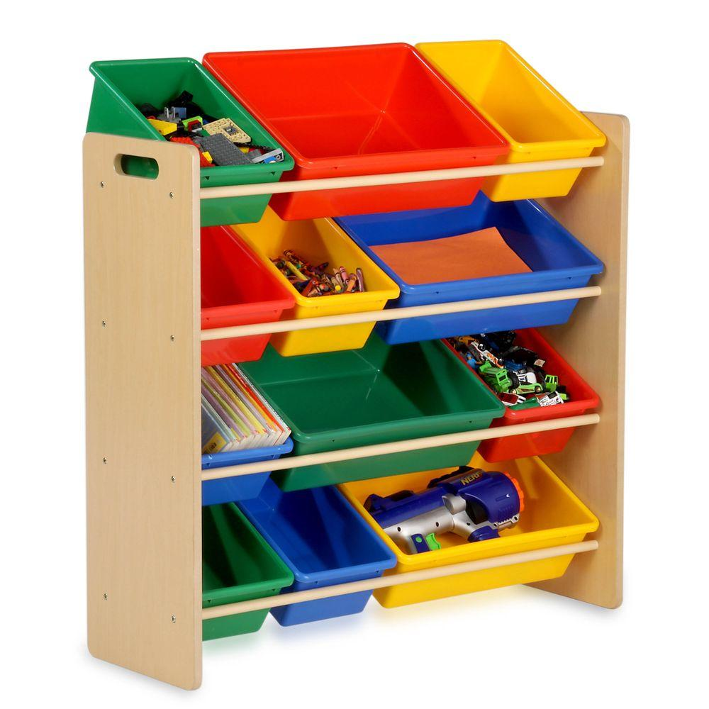Kids Toy Storage Organizer With Plastic Bins Natural