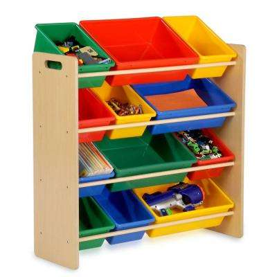12.5 in. x 36 in. Kids Storage with 12-Cube Organizer in Natural
