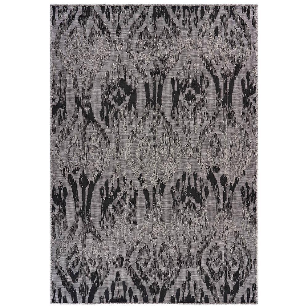 Retreat Black / Gray 5 ft. x 7 ft. Ikat Indoor/Outdoor Area Rug