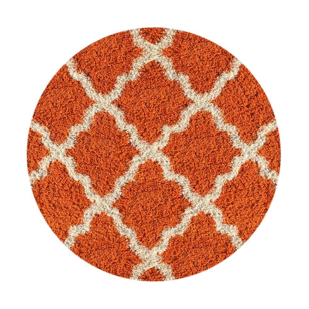 Maxy Home Bella Collection Orange 5 Ft X Round Area Rug