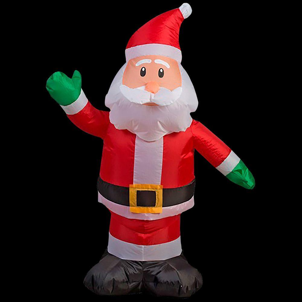 Home accents holiday in w x in d x in h lighted inflatable outdoor santa for Home depot christmas decorations for the yard