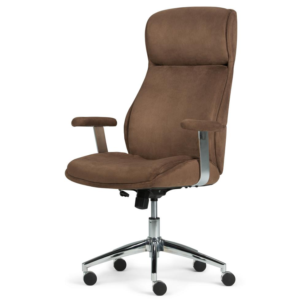 Simpli Home Melbourne Chocolate Brown Swivel Office Chair