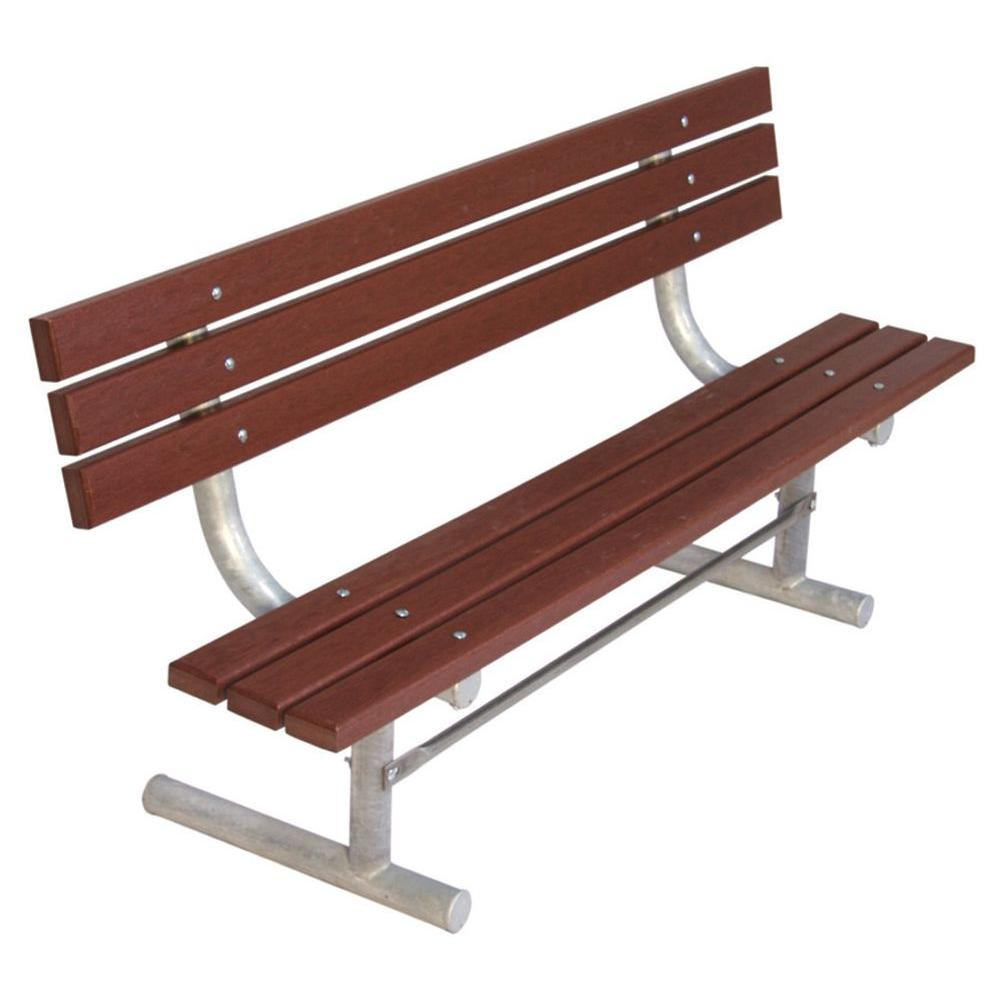 Ultra Play 6 ft. Brown Commercial Park Recycled Plastic Bench with Back Surface Mount