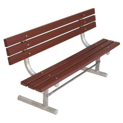 6 ft. Brown Commercial Park Recycled Plastic Bench with Back Surface Mount