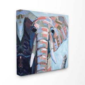 17 In X 17 In Colorful Abstract Elephant Blue Pink Painting By Shelby Dillon Canvas Wall Art