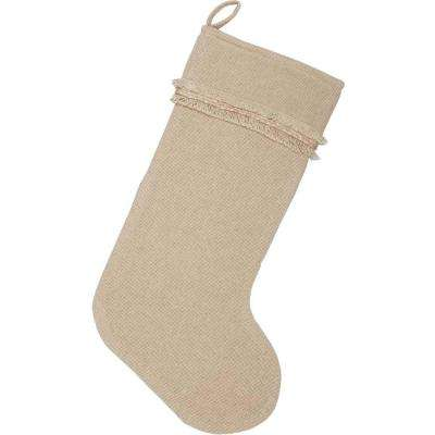20 in. Cotton Burlap Vintage Antique Creme White Farmhouse Christmas Decor Stocking