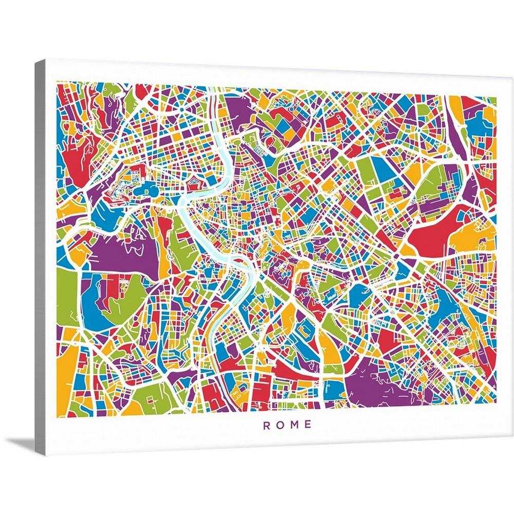 Italy Map Wall Art.Greatbigcanvas Rome Italy Street Map By Michael Tompsett Canvas