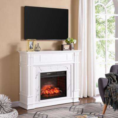 Rochester 48 in. W Faux Cararra Infrared Electric Media Fireplace in White