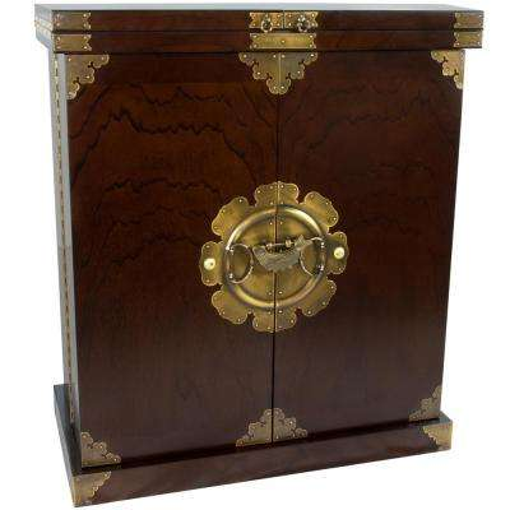 Oriental Furniture Walnut Korean Antique Style Liquor Cabinet Wine Bar Cabinet