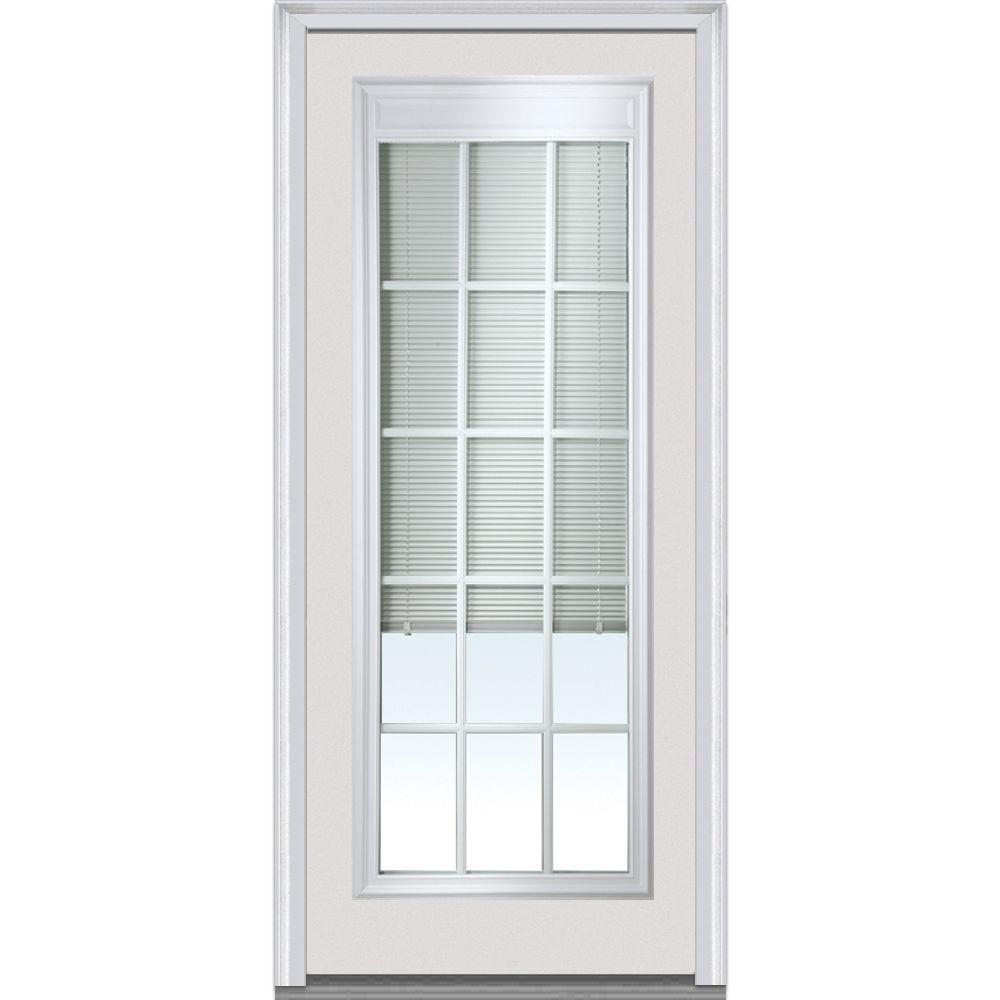 MMI Door 32 in. x 80 in. Internal Blinds with GBG Left Hand Full ...