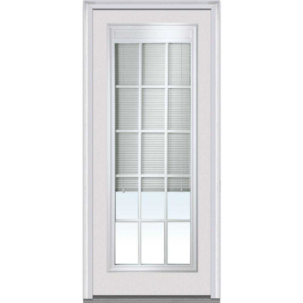 Mmi Door 36 In X 80 In Internal Blinds With Gbg Right Hand Full Lite Primed Steel Prehung