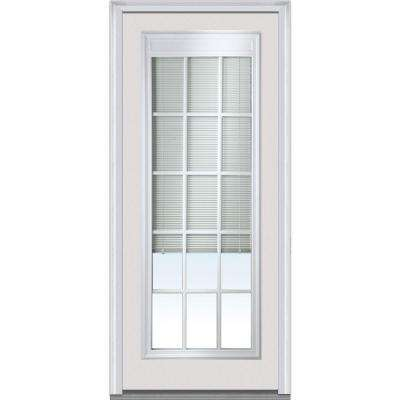 36 in. x 80 in. Internal Blinds with GBG Right Hand Full Lite Primed Steel Prehung Front Door