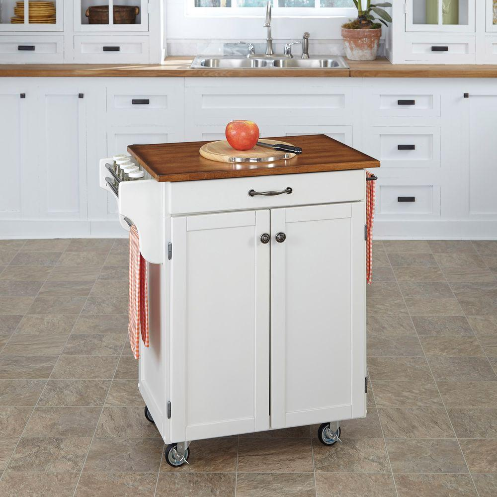 Home Styles Cuisine Cart White Kitchen Cart With Oak Top