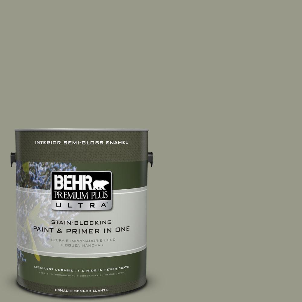 BEHR Premium Plus Ultra 1-gal. #BNC-27 Aged Eucalyptus Semi-Gloss Enamel Interior Paint