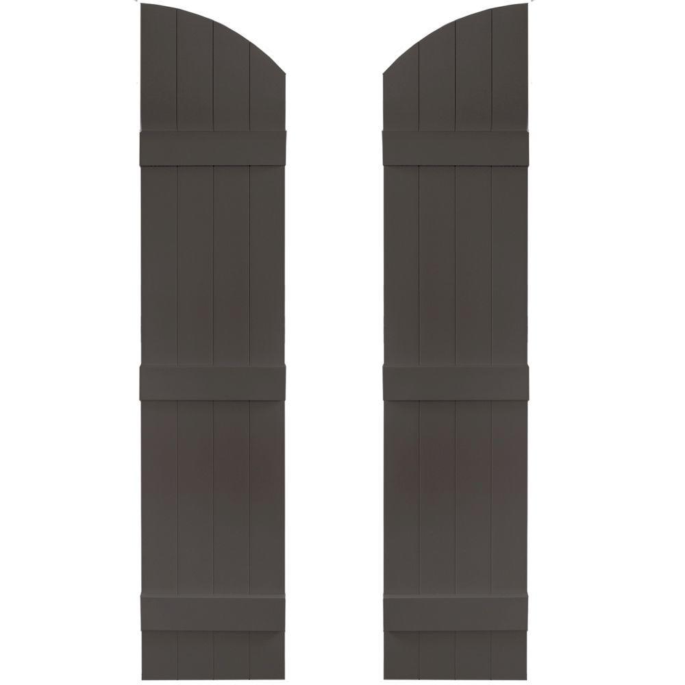 14 in. x 61 in. Board-N-Batten Shutters Pair, 4 Boards Joined with Arch Top #018 Tuxedo Grey