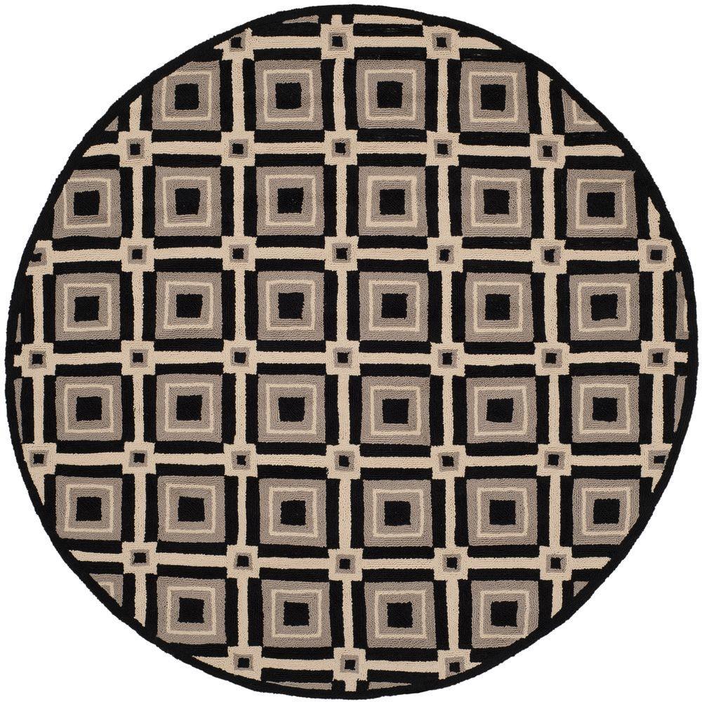 Safavieh Four Seasons Black/Grey 4 ft. x 4 ft. Round Indoor/Outdoor ...
