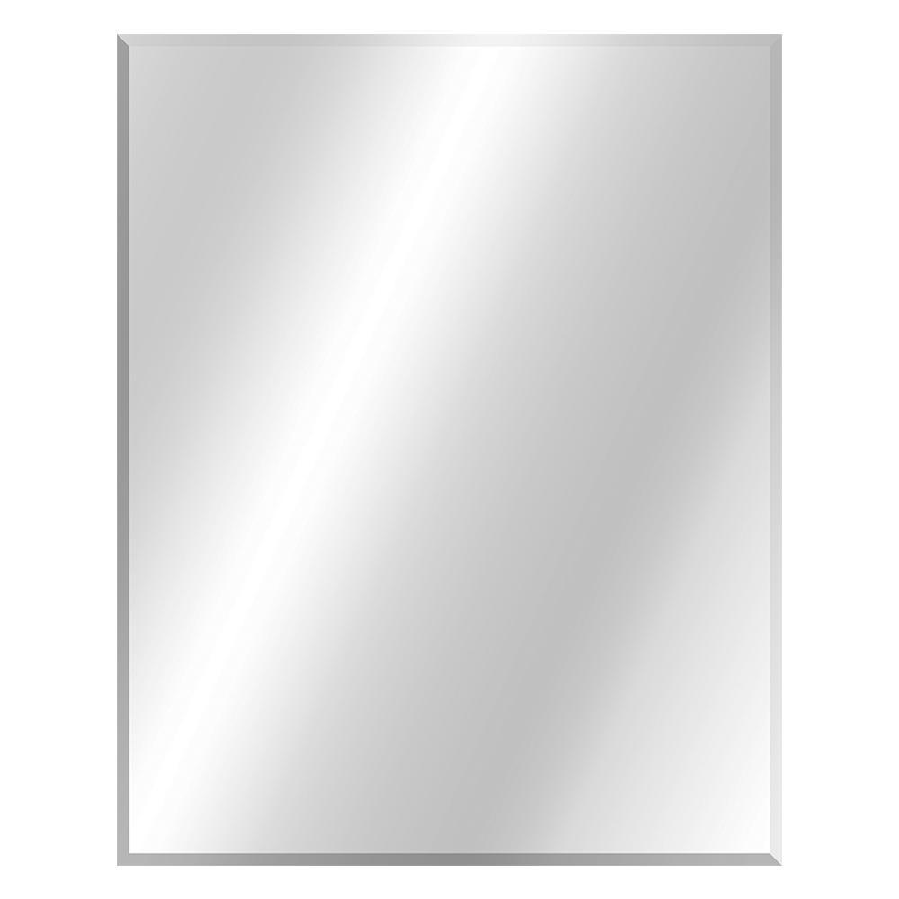 24 in. W x 30 in. H Frameless Rectangular Beveled Edge Bathroom Vanity Mirror in Silver
