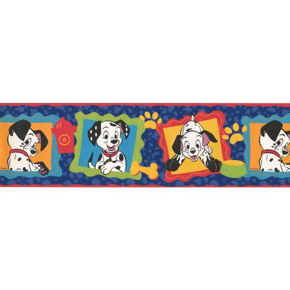 Retro Art 101 Dalmatians Disney Cartoon Prepasted Wallpaper Border