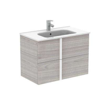 Onix 32 in. W x 18 in. D Bath Vanity in Sandy Grey with Ceramic Vanity Top in White