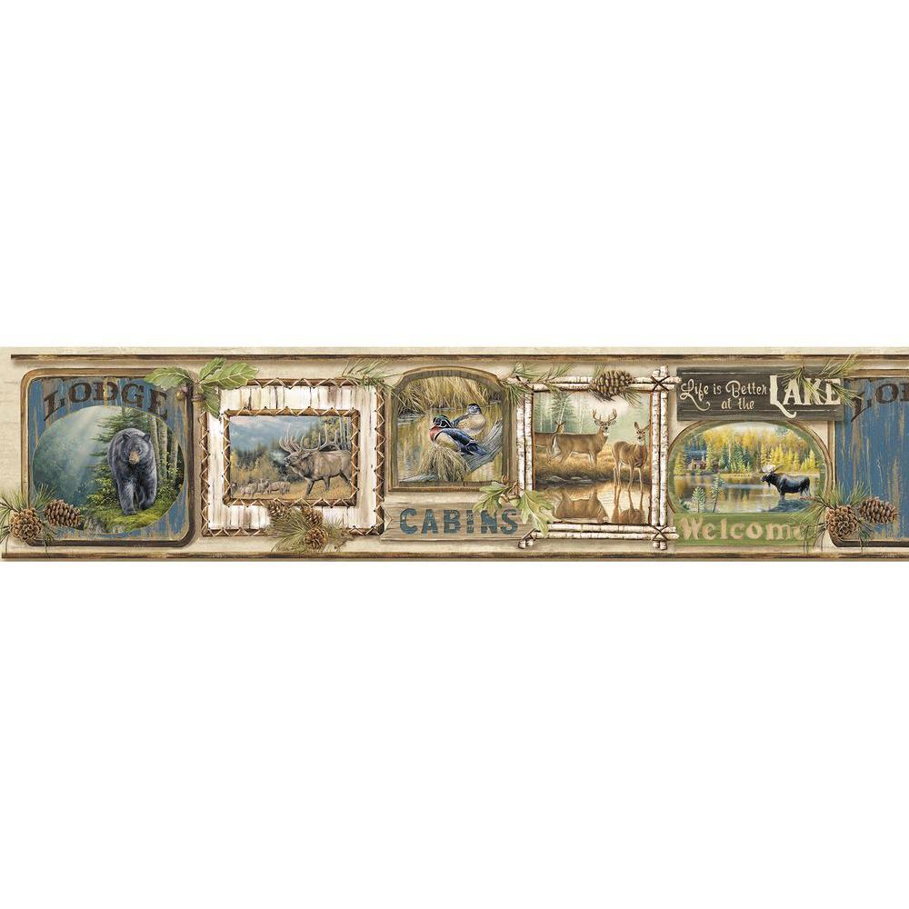 Poinsett Neutral Cabin Fever Wallpaper Border Sample
