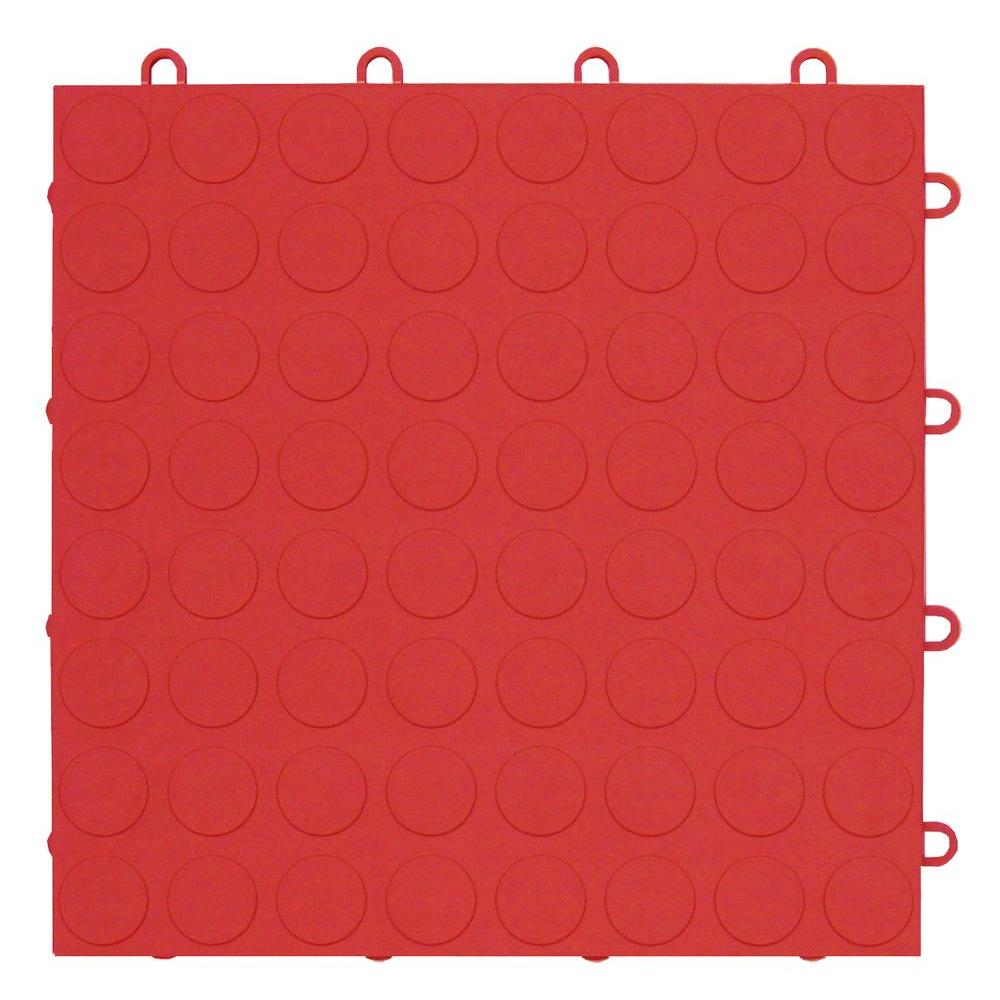MotorMat Coin Bright-Red 12 in. x 12 in. Garage Tile (40-Case)