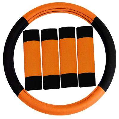 Universal Fit Modernistic Flat Cloth Steering Wheel Cover with 4 Seat Belt Pads Accessory Set