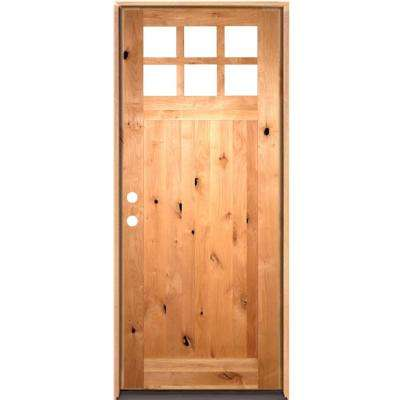 42 in. x 96 in. Craftsman Beveled Glass Right-Hand Inswing 6-Lite Clear Unfinished Knotty Alder Wood Prehung Front Door