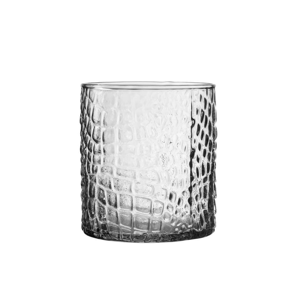 Elle Collection Bistro 12.84 oz. 380 ml Croc Clear 4-Piece Old Fashion Glasses Set